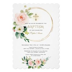 Elegant Pink Blush Floral Gold Cross Baptism Invitation #blush #pink #floral #baptism #watercolor #Invitation