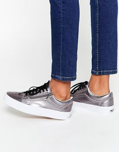 Image 1 of Vans Pewter Leather Old Skool Sneakers
