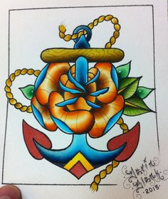 Anchor and rose traditional tattoo flash by Darin Blank. Instagram: @darinblanktattoos