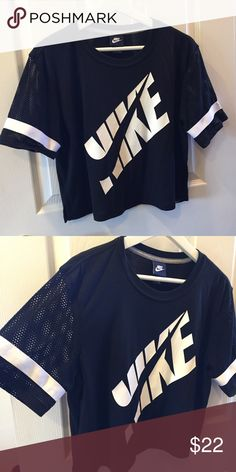 Nike jersey crop top Nike mesh sleeves crop top! Its not cropped too high. Great new condition Nike Tops Crop Tops