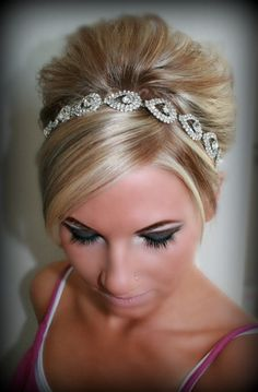 Bridal Headband Bridal Head Piece ELSIE Rhinestone by BrassLotus