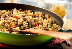 Extra lean ground beef, fat free gravy and lots of mixed veggies combine with pasta to make this simply delicious skillet dish.