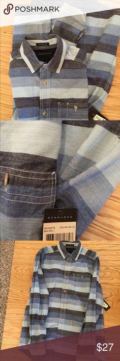 NWT Sean John Shirt Azure Blue M Brand new with tags men's button up shirt  Size medium Sean John Shirts Casual Button Down Shirts