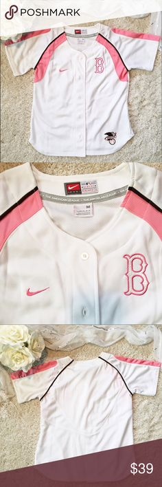 NIKE Boston Red Sox Baseball Jersey! EXCELLENT condition limited edition women's baseball jersey by Nike. Boson Red Sox! Crisp white with adorable baby pink detailing. 💕 Nike Tops