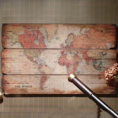 Large Wooden World Wall Hanging : Beau Decor love this elegant shabby chic world map picture!