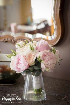 Bouquet de Marina  bouquet, mariée, bouquet de mariage, pivoine, peonies, lisiantus, rose, gypsophile, mariage, wedding, mariage en rose, eucalyptus