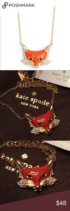 """⭐️Necklace⭐️ ⭐️kate spade into the woods fox necklace⭐️NWT⭐️Comes with dust bag⭐️Chain is approximately 8"""" in length with a 3"""" extender⭐️Fox is 1"""" long x 3/4"""" wide⭐️Please use the offer button⭐️I WILL NOT respond to offers in the comments⭐️No Trades kate spade Jewelry Necklaces"""
