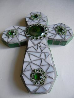 Green and White Mosaic Cross by TheMosartStudio on Etsy