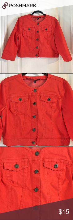 """Baccini Orange Jacket Baccini Orange Jacket ~ Size X-Large ~ UA to UA is approximately 22"""" ~ 76% Cotton, 22% Polyester, 2% Spandex Baccini  Jackets & Coats Jean Jackets"""