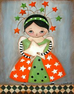 FAIRY ANGEL WITH THE STAR MIXED MEDIA ART PRINT by ArtAndDreams