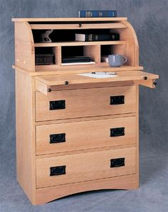 Woodworking Project Paper Plan To Build Roll-top Secretary, Plan No. 933