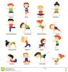 Kids Children Yoga Poses Cartoon Set. - Download From Over 65 Million High Quality Stock Photos, Images, Vectors. Sign up for FREE today. Image: 73139745