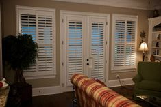 Shutters Wood White French Door Casual Traditional Living Room