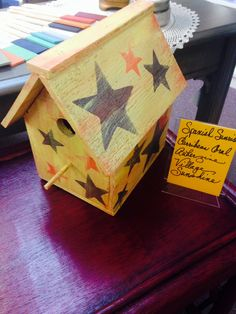 Birdhouse painted with Paint Couture!(TM) by The Village Emporium in Charlotte, NC.  They have painting classes, too!