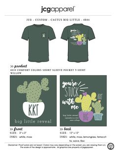 JCG Apparel : Custom Printed Apparel : Kappa Kappa Gamma Big Little T-Shirt #kappakappagamma #kkg #biglittle #bigsislittlesis #reveal #cactus #yourestuckwithme