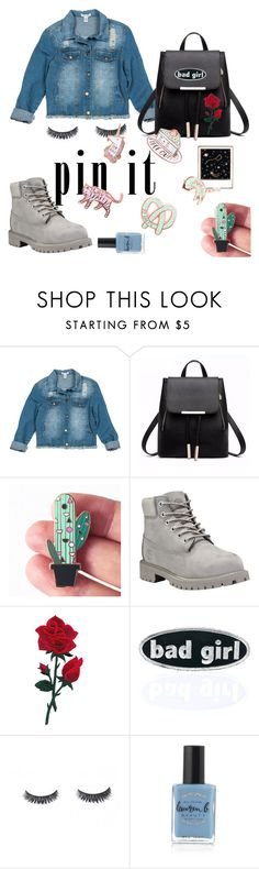 """Cute badges outfit"" by daisygrove ❤ liked on Polyvore featuring Sans Souci, Berylune, Timberland, C&D Visionary, Lauren B. Beauty and Polaroid"