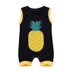 Summer Sleeveless O-neck Newborn Baby Rompers Cute Pineapple Print Jumpsuit Cott Cute Pineapple, Pineapple Print, Printed Jumpsuit, Black Romper, Pants Outfit, Online Shopping Clothes, Clothing Items, Vintage, Mens Tops