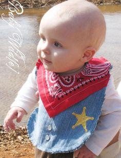 Western Cowboy Bib Baby Recycled Jeans Sheriff Deputy by BabyWilde