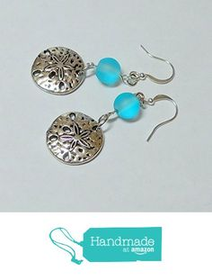 Handmade in Florida Sand Dollar Earrings with Sea Glass Bead and Silver Plate Earring Hooks by BethExpressions Beach Wedding Jewelry, Beach Jewelry, Sea Glass Jewelry, Aqua Wedding, Blue Necklace, Glass Earrings, Turquoise Jewelry, Hooks, Silver Plate