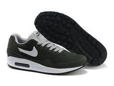 best sneakers ef17e 1b0cc Pas cher Nike Air Max 1 en ligne blanc noir vert gris chaussures et Nike Air
