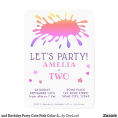 2nd Birthday Party Cute Pink Color Splash Invitation