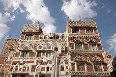 Arquitectura en adobe de la ciudad de Sana'a situada a 2350 metros de altitud..en Yemen..Fotos: Inaki Caperochipi