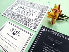 Wedding Invitation Set with RSVP  Vintage by TortoiseBelly on Etsy, $4.75