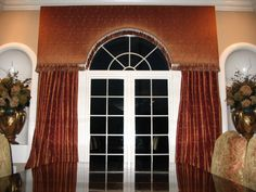 New Wedding Arch Drapery Window Treatments 60 Ideas Arched Window Treatments, Custom Window Treatments, Arched Windows, Window Coverings, Drapery, Curtains, Antique Wardrobe, Eco Buildings, Pelmets