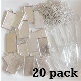 20 Pack Large Rectangle Photo Pendants w/ Glass + 20 Ball Chains