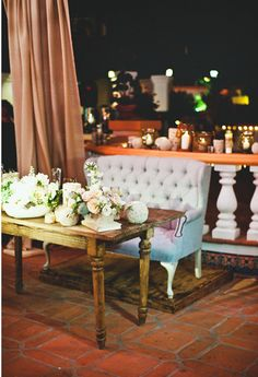 Lovely sweetheart table with flowers by Inviting and photo by Sargeant Photography