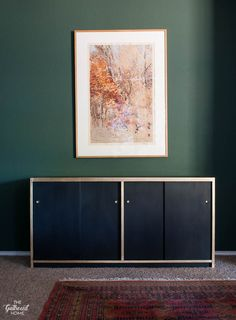 No sanding, no priming! This incredible makeover was done with Amy Howard One Step paint! Plus, tips for foolproof gold leaf details! Black Sideboard, Painted Sideboard, Credenza, Furniture Makeover, Diy Furniture, Amy Howard Paint, Black Painted Furniture, Unwanted Furniture, One Step