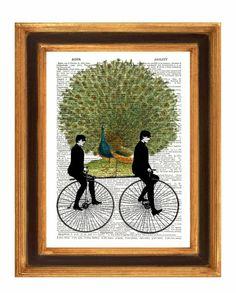 Twins on Bikes Peacock Print, de Print Land