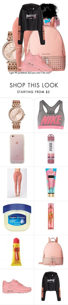 """""""bet"""" by th3-qu33n-25 on Polyvore featuring MICHAEL Michael Kors, NIKE, Victoria's Secret, Vaseline and Carmex"""