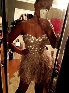 Bebe Sequin & Feather dress! My favourite dress!