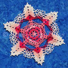 Flirtation Peak Snowflake by Deborah Atkinson - free crochet pattern. Crochet Snowflake Pattern, Crochet Snowflakes, Crochet Doilies, Crochet Flowers, Hexagon Crochet, Crochet Christmas Ornaments, Christmas Crochet Patterns, Holiday Crochet, Christmas Snowflakes