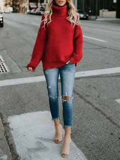 Red High Neck Round Neck Long Sleeve Slouchy Casual Pullover Sweater -  Pullovers - Sweaters - ebd05ce01