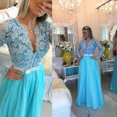Blue Long Sleeves Deep V Neck Lace Long Prom Dresses, PM0048