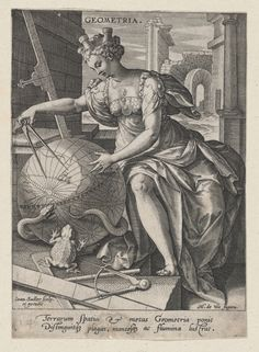 Geometria, from The Seven Liberal Arts, Johann Sadeler I (Netherlandish, Brussels Venice), Engraving and etching Early Modern Period, Masonic Symbols, Classical Antiquity, Historical Maps, Old Master, Vintage Wall Art, Metropolitan Museum, Tool Design, Middle Ages