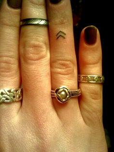 Chevron finger tattoo... Viking symbol meaning ' create your own reality' or as i like to think change your perception change you world.