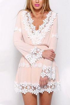 V-Neck Lace Chiffon Dress – WOMENPOP