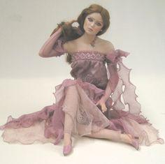 Marigio Marigio-1160 Bambola Artistica Marigiò Clementina in porcellana biscuit dipinta a mano capelli veri, Bambola in Porcellana da Collezione con Abito in Tessuto Pregiato