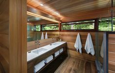 Tom Murdough Design Archives - StyleCarrot Featuring Carlisle Wide Plank Walnut Floors on radiant heat. Rustic Renovations, Lake House Bathroom, Boston, Asian Interior, Walnut Floors, Wide Plank Flooring, Tiny House Living, Cabins In The Woods, House And Home Magazine