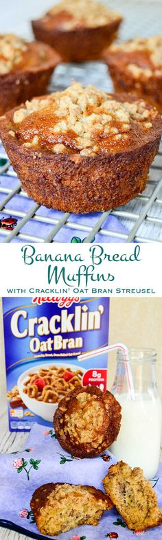 Love banana bread? Topped with a sweet, Cracklin' Oat Bran topping these tender, banana bread muffins are sure to become a family favorite. #ReimagineCereal #CollectiveBias #ad