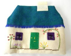 Tea Cozy English Cottage House Hand Stitched Wool Padded Vintage