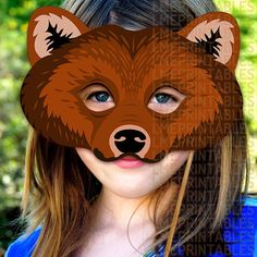 Bear Printable Mask Grizzly Bears Brown DIY by LMEprintables