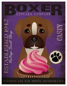 Boxer Cupcake Company Original Art Print  by DogsIncorporated, $29.00