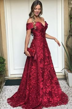 Lace Flower Off The Shoulder Satin Prom Dresses Ball Gowns Dresses Elegant, Warm Dresses, Stylish Dresses, Beautiful Dresses, Nice Dresses, Formal Dresses, Mom Dress, Lace Dress, V Neck Wedding Dress