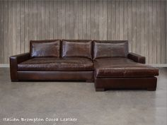 the Braxton Leather Sofa Chaise Sectional (shown here in Italian Brompton Cocoa leather) is often copied, but remains the original. A great deep seating sofa chaise sectional with classic track arm styling, tailored in some of the world's elite leathers and premium down fill seating.