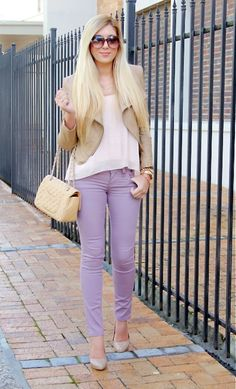 Loose sheer top + tan leather jacket + lilac pants <3
