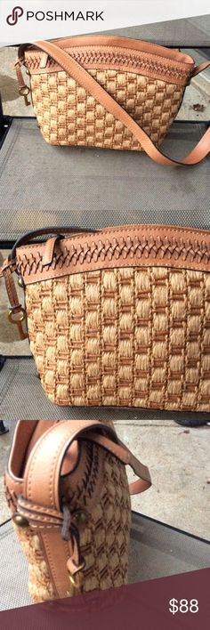 Fossil vintage woven bag With leather trim,vary good condition Fossil Bags Shoulder Bags
